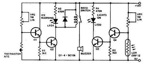 ice warning  lights reminder circuit diagram project
