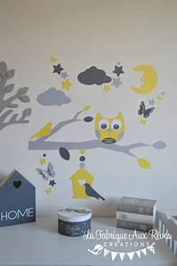 Decoration Nuage Chambre Bébé : stickers hibou jaune gris blanc lune nuage toiles ~ Dallasstarsshop.com Idées de Décoration