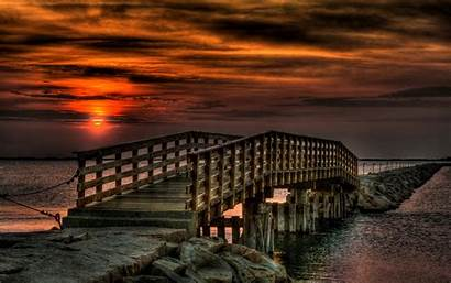 Nature Widescreen Laptop Bridge Sunset Background Beach