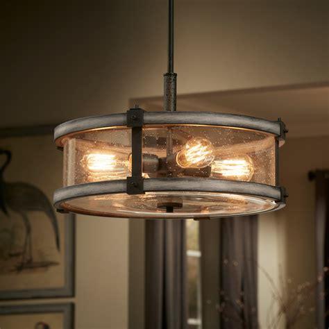 barrington  light drum pendant anvil iron kichler