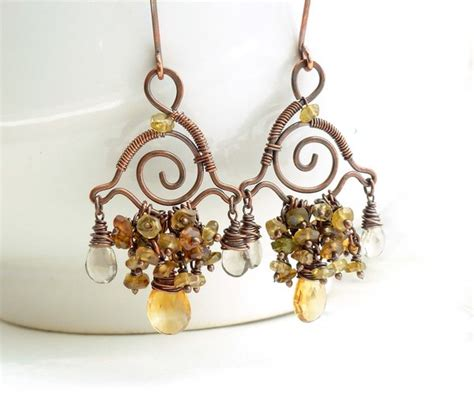 citrine chandelier earrings wire wrapped copper by