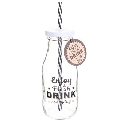 bouteille avec paille en verre enjoy maisons du monde