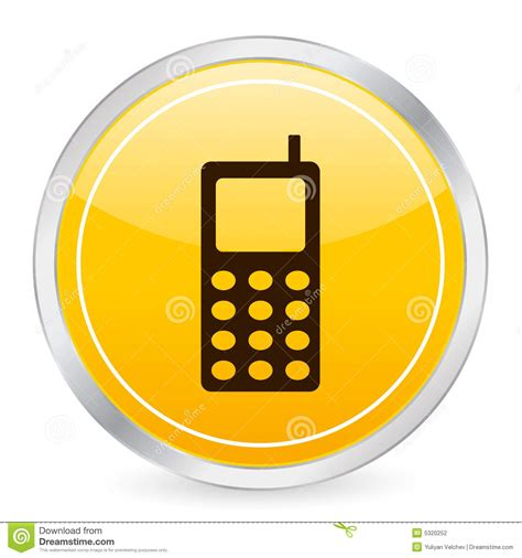 mobile phone yellow circle ico stock vector illustration
