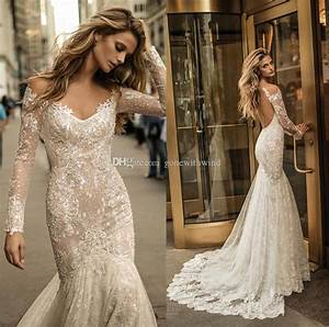 2017 long sleeve berta bridal wedding dresses fit and for Lace fit and flare wedding dress with sleeves
