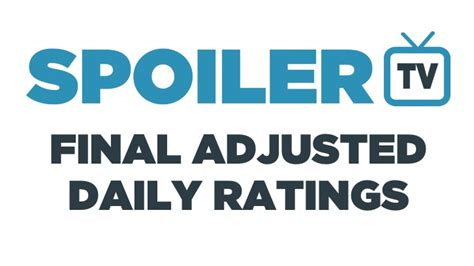 tv ratings adjusted final spoilertv friday sunday wednesday march 11th october 20th 12th 25th monday seasons interactive database charts remember