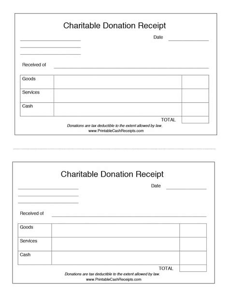 Receipt Template Charitable Donation Receipt Template Free Aashe