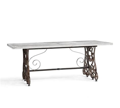 cement top dining table rosalie concrete top rectangular dining table pottery barn