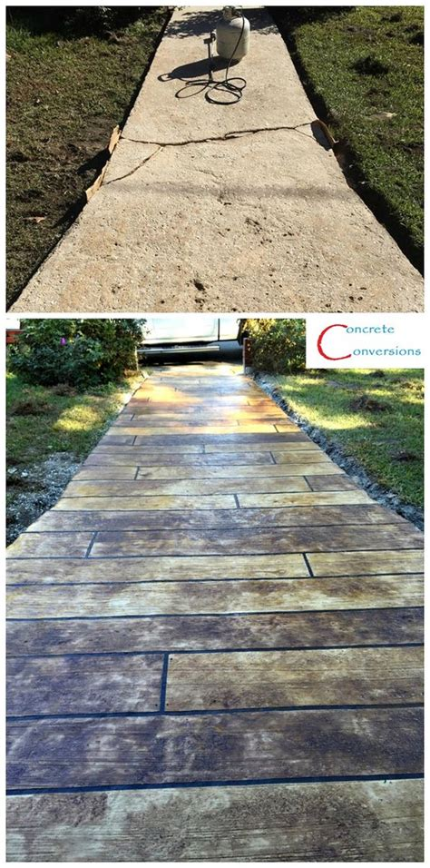 concrete wood sidewalks and woods on