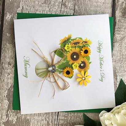 Handmade Card Mothers Mother Sunflowers Cards