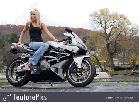 Blonde Woman On A Motorcycle Image