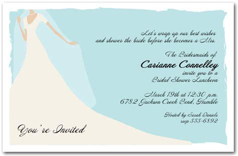 graceful gown  blue bridal shower invitation