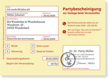 partybescheinigung einladungskarten  geburtstag