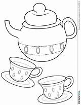 Coloring Teacup Tea Cup Pages Printable Teapot Useful Template Drawing Dreamstime Beast Beauty Hatter Mad Drawings Getcolorings Templates Birthday 1043 sketch template