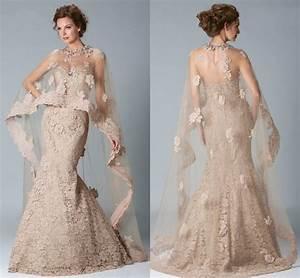 champagne mermaid lace evening dresses cape robe de soiree With robe de soirée avec cape