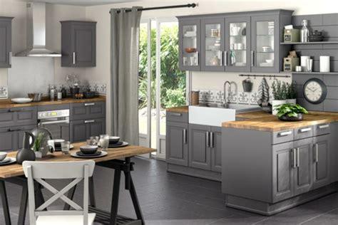 cuisine gris et bois une cuisine lapeyre modèle de style et confort archzine fr
