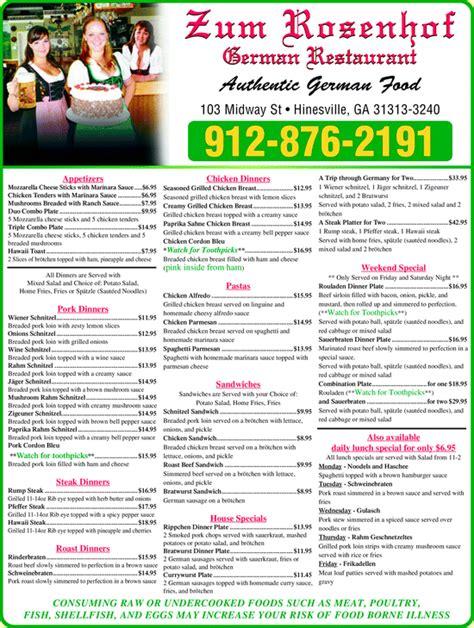 german cuisine menu zum rosenhof german restaurant hinesville ga 31313 3240