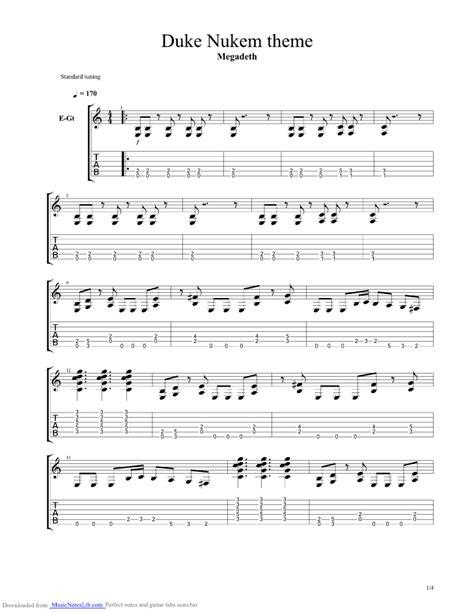 1000 Ways To Die Tub - duke nukem theme guitar pro tab by megadeth