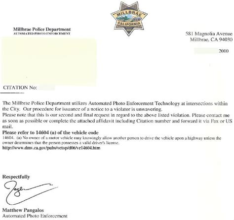 traffic ticket appeal letter sample