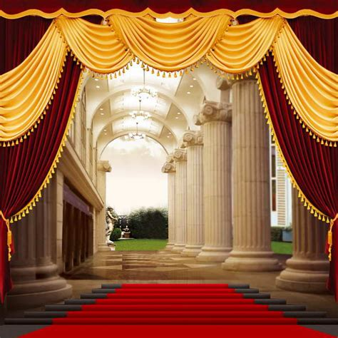 Carpet Backdrop by Column Lace Curtains Carpet Grand Staircase Photo