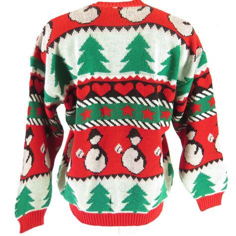 christmas tree sweater costume christmas tree snowman sweater cardigan unisex m 2369