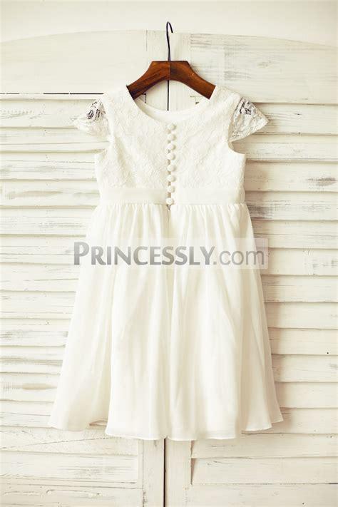 ivory lace chiffon wedding flower girl dress  sheer