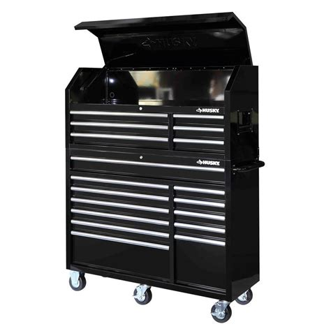 husky 52 in 18 drawer tool chest and rolling tool cabinet set black hotc5218b1qes the home depot