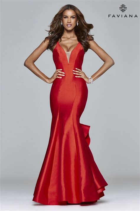 Long v-neck ball gown with ruffle overskirt | Faviana ...