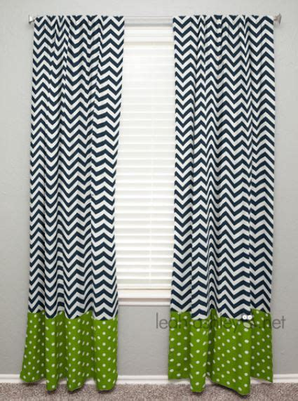 curtain panel with banding navy chevron lime green