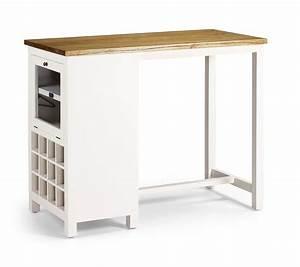 Table Bar Rangement : table de bar en bois blanc laqu avec range bouteilles ~ Teatrodelosmanantiales.com Idées de Décoration