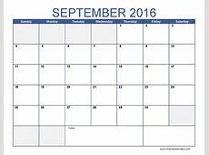 September 2016 calendar Word Printable and Template