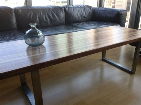 using a bench as a coffee table custom made walnut stainless steel butcher 39 s block