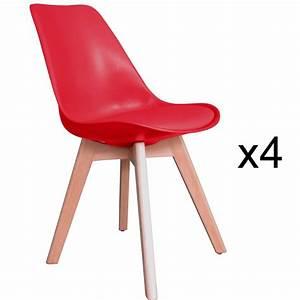 Chaise Scandinave Rouge : deco in paris 1 lot de 4 chaises scandinave blanc gala gala blanc x4 ~ Teatrodelosmanantiales.com Idées de Décoration