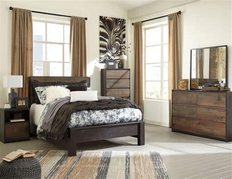 windlore dark brown panel bedroom set  ashley coleman furniture