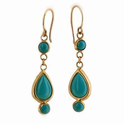Turquoise Earrings Gold Yellow 14k Handmade Teardrop
