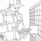 Postman Coloring Parcel Office Pages Sketch Drawing Hellokids Paintingvalley sketch template