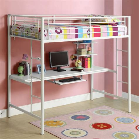 metal loft bed with desk under white metal bunk beds with desk for children