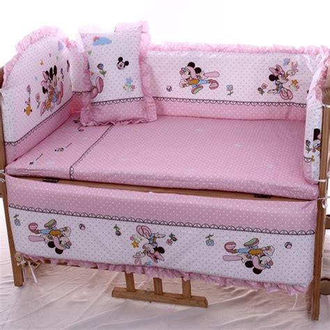 Minnie Mouse Baby Bed by 2017 Real 5pcs Baby Bedding Set Mickey Minnie Mouse 120