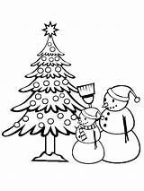 Coloring Christmas Pages Trees Tree sketch template