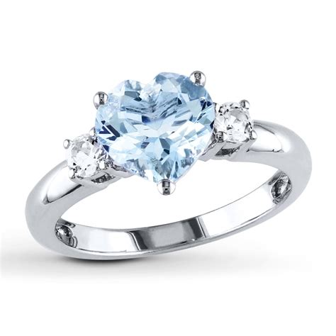 aquamarine heart ring lab created sapphires sterling silver  kayoutlet