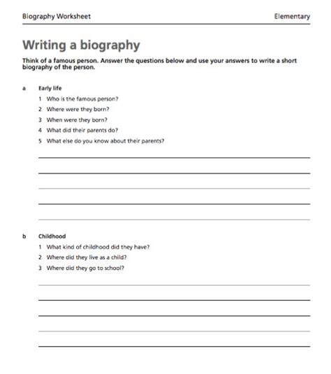 biography templates examples personal