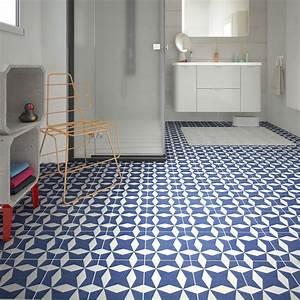 Art Et Carrelage : carrelage sol et mur bleu blanc effet ciment d ment x ~ Melissatoandfro.com Idées de Décoration