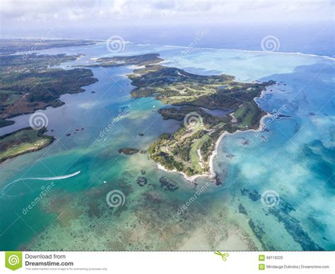 Ile Aux Cerfs Deer Island From Above Landscape With