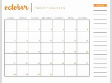 October 2018 Blank Calendar Printable Templates November