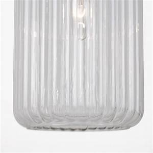 Fluted Glass Design Pendant Fitting Finished With Clear