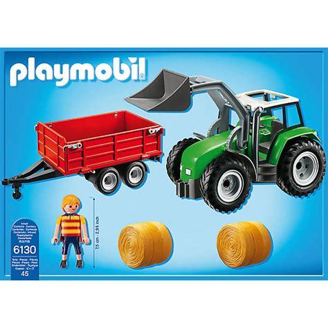 playmobil auto mit anhänger playmobil 174 6130 gro 223 er traktor mit anh 228 nger playmobil country mytoys