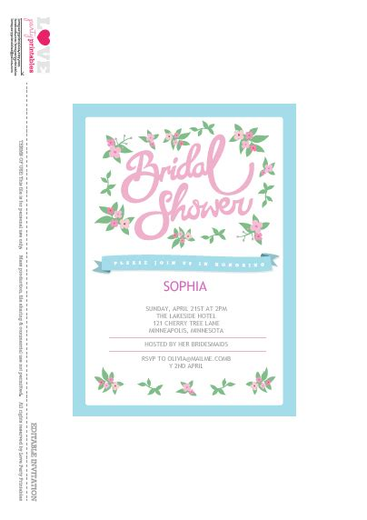 Printable Wedding Shower - free bridal shower printables from