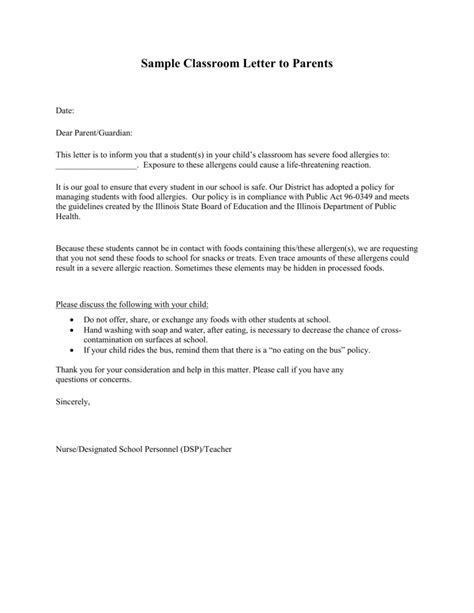 Sample Classroom Letter to Parents - Illinois State Board