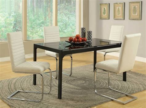 modern black chrome glass dining table chairs dining