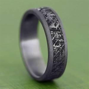 Handmade mimetic meteorite ring sandblasted titanium for Wedding ring made from meteorite