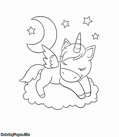 Unicorn Coloring Sleeping Cloud Einhorn Coloringpages Sleepy